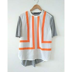 L.A.M.B Orange Design Gray White Tee